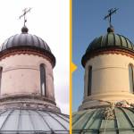 Cupola - fornitura e posa di sistema paraneve in rame,  restauro particolari cupoloni e posa nuova faldaleria in rame - Costa di Ovada